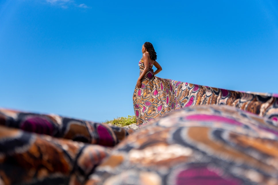 Mildred, 12 feet of fabric, and the Bright Blue Sea